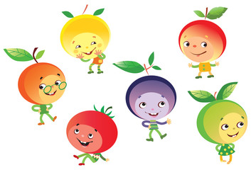 Funny fruits personages