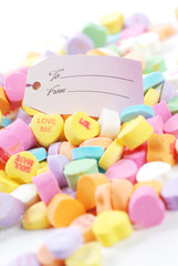 Valentine candies and letters