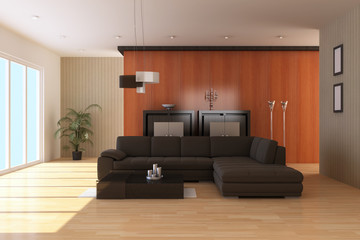 The 3d rendering indoor contemporary sitting room