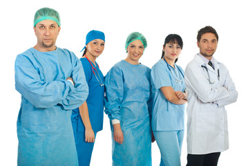 Mid adult surgeon and his team