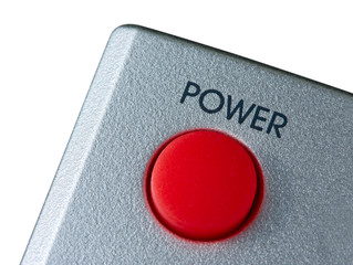 Big red Power button isolated on white