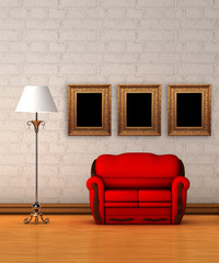 couch with lamp and picture frames in minimalist interior