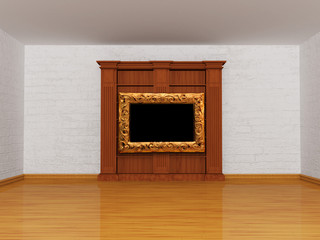Wooden bookshelf with picture frame in minimalist interior