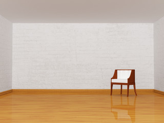 alone white chair in room