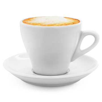 cappuccino coffee in a white cup + Clipping Path