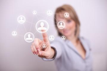 Woman pressing social net button