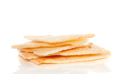 a pile of shrimp crackers isolated over white