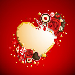Wall Mural - beautiful red and golden valentine`s day background