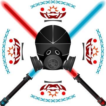 lightsabers and helmet