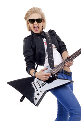 Rock star girl with sunglasses