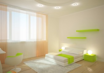 green bedroom concept