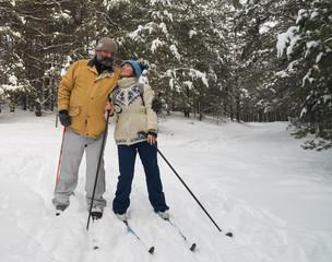 Couple on a ski outing