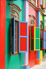 Colorful Windows on Colonial House