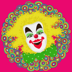 Clowns face on decorative carnival background