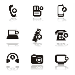 set of 9 technology with stars icons
