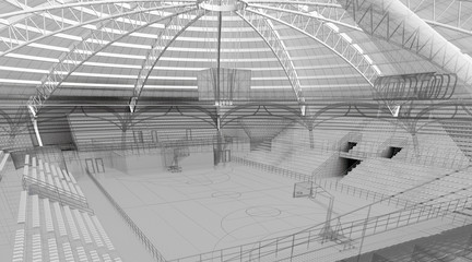palasport progetto rendering 3d