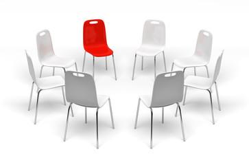 Chaises en cercle sur fond blanc 2