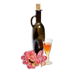 Bottle and glass of wine, grape bunch on white background