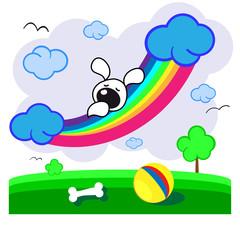 щенок на радуге