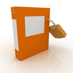 3D illustration of the image of a folder with the lock