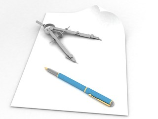 Drawing compass and pen