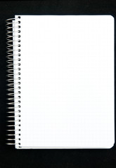 Notepad page isolated on black