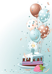 Slice Of  Birthday Cake With Balloons