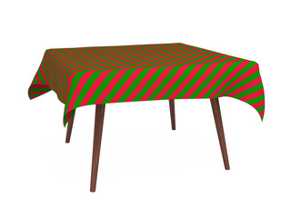 Table with striped tablecloth, red and green, isolated on white