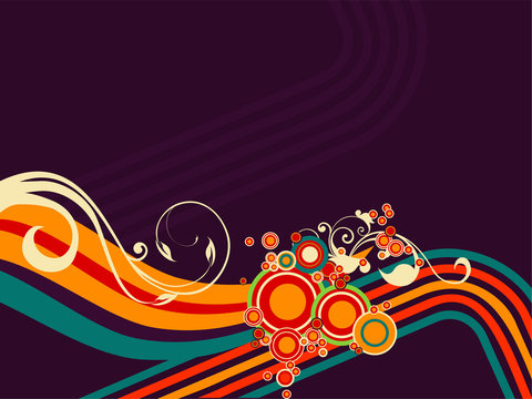 Vector illustration of retro disco lines with floral ornaments