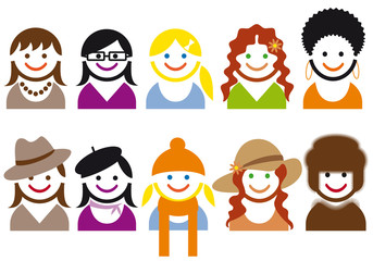woman faces and hair style, vector