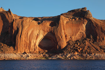 The cliffs on Lake Powell