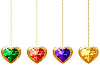 Collection of different hanging hearts with gems