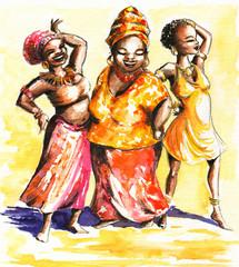 African dancing women.