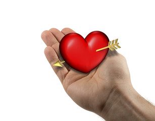 Right man hand with red and chubby heart on a white background