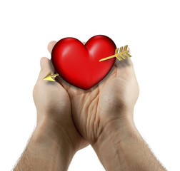 Two man hands with red and chubby heart on a white background
