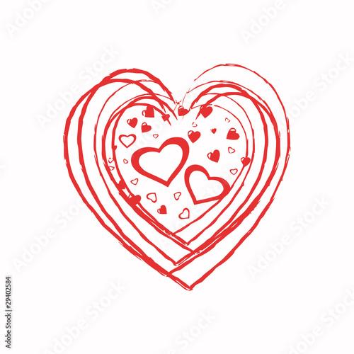 Coeur rouge dessin fichier vectoriel libre de droits sur - Coeur en dessin ...