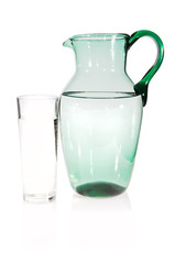 Water pitcher and glass of water