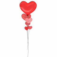 3d balloons heart valentine's day