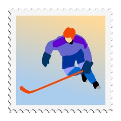 Hockey. Vector stamp