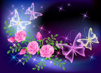 Glowing transparent flowers and butterfly