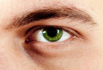 Man green eye macro