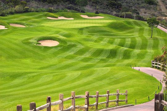 Wavy green golf field