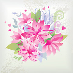 Pink flower with heart.