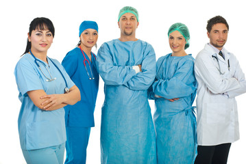 Friendly physician woman and her team