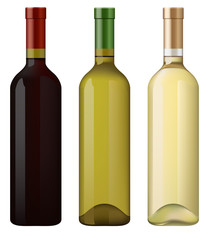 Red, Green and White wine bottles.