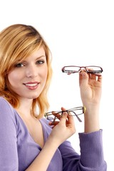 young beautiful woman with two eyeglasses (white background)