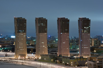 Modern residential buildings in Moscow city at night