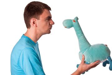 mad stare at the blue teddy giraffe