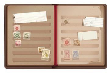 Brown old stamp album