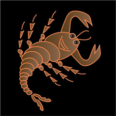 A scorpion on a black background, vector